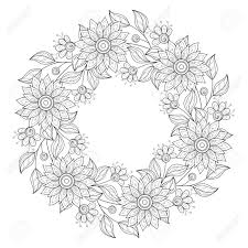 vector monochrome floral background hand drawn ornament with