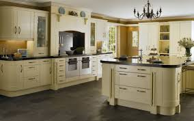 enchanting kitchen design with cream wooden countertop and cream