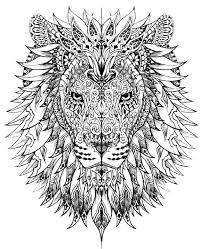 difficult lion head animals coloring pages adults justcolor