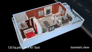 Building Elevation In 12 X40 by 120 Sq Yds 24x45 Sq Ft East Face House 1bhk Isometric 3d View For