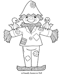 enchanted scarecrow pumpkin man for halloween coloring page