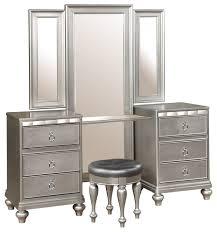 Vanity Table With Tri Fold Mirror Dutchess Vanity With Tri Fold Mirror And Stool Traditional