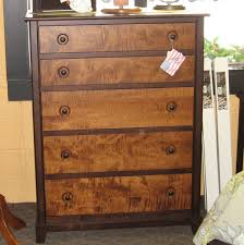 Tiger Maple Furniture Chesapeaka 5 Drawer Dresser Shown In Brown Tiger Maple With A