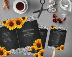 chalkboard wedding program template sunflower program etsy