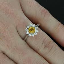 flower halo engagement ring white gold flower yellow sapphire halo engagement