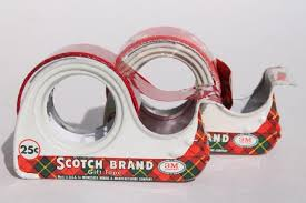 lot vintage christmas print gift wrap tapes in mid century scotch