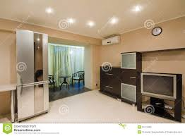 spacious studio apartment with an open balcony stock photo image