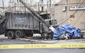 two dead in long island crash involving car garbage truck ny