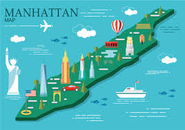 manhattan on map manhattan map vector illustration free vector