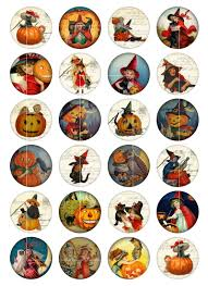 vintage halloween circle images digital collage sheet bottlecap4u