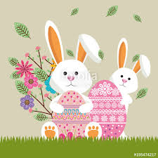 happy easter cards rabbit happy easter card vector illustration design stock