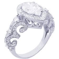 14k white gold pear shape diamond engagement ring art deco antique