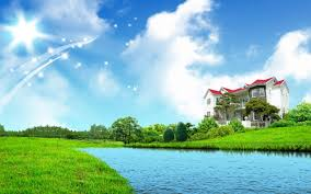 widescreen abstract nature home on river full hd with mobile