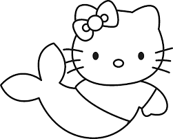 print hello kitty little mermaid coloring page or download hello
