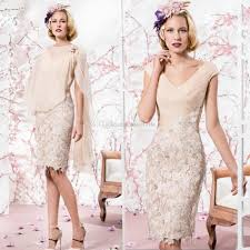 2015 beige mother of the bride dresses cheap v neck knee length