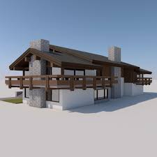 Chalet Houses European Chalet Houses 4 In 1 Collection 3d Model 3ds Fbx C4d