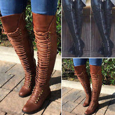 s boots lace up low heel s leather lace up knee boots ebay