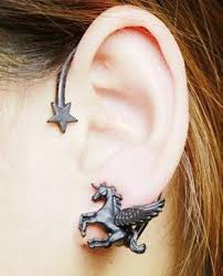 ear earing fashion rock stereoscopic running unicorn