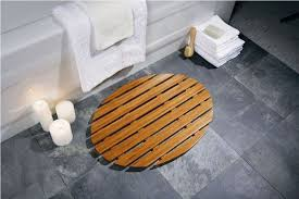 Bamboo Bathroom Rug Bamboo Oval Bath Rug With Gray Ceramic Floor For White