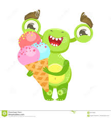 ice cream emoji smiling funny monster holding ice cream in cone green alien