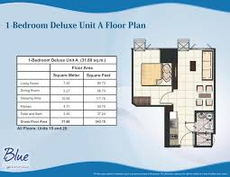 floor plans of units sm blue residences br deluxe unit a plan sqm