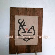Custom Burlap Art Print Love - wood sign love buck and doe deer from custom country design