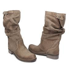 tan biker boots perforated biker boots in genuine beige leather made in italy