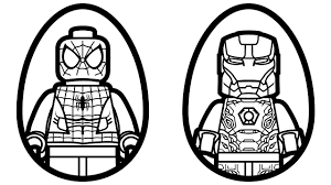 surprise eggs lego spiderman vs lego iron man coloring book