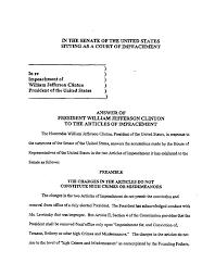 document clinton answers senate summons january 11 1999