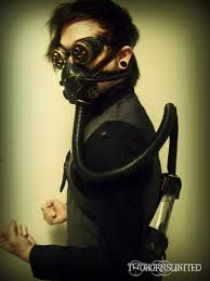 hydropunk steampunk victorian respirator gas mask and goggles set