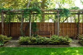 Backyard Gravel Ideas - privacy fence designs landscape contemporary with arbor bench