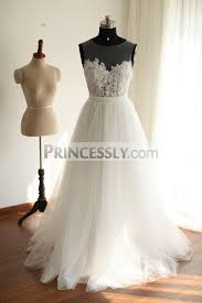tulle wedding dress sheer see through ivory lace tulle wedding dress