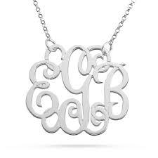Monagram Necklace Silver Fancy Monogram Necklace