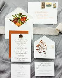 Wedding Invitations Houston Autumn Floral Copper Foil Wedding Invitations