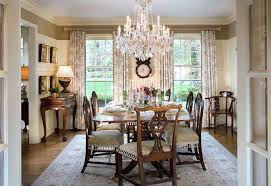 amazing dining room crystal chandelier over elegant table with