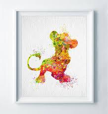 simba watercolor abstract print disney poster the lion king