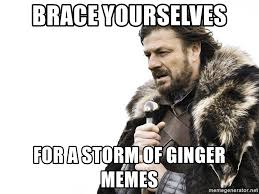 Ginger Meme - brace yourselves for a storm of ginger memes winter is coming