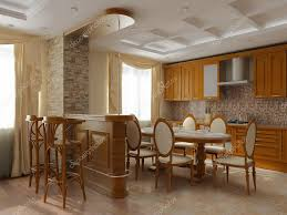 3d rendering interior of a dining room and kitchen in classical