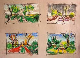 pastel sketches at the david hockney