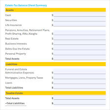 Estate Deal Sheet Template Sle Balance Sheet 11 Documents In Word Pdf Excel