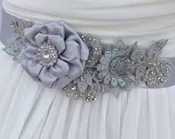 bridal sash wedding sash in platinum silver and blue grey with