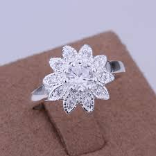 sunflower engagement ring 925 sterling silver jewelry fashion silver wedding engagement