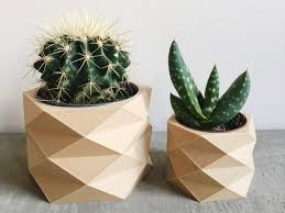 manchette cache pot cache pot géométrique low poly en bois parfait pour