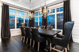 Orb Chair Orb Chandelier Dining Room Transitional With Black Black Leather