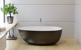 aquatica spoon 2 egg shaped black wht solid surface bathtub aquatica s spoon 2 black and white tub is one of our more unique egg shaped freestanding bathtubs with a contemporary and upscale design which has been
