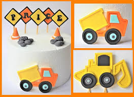 construction cake toppers fondant construction cake topper set fondant dump truck