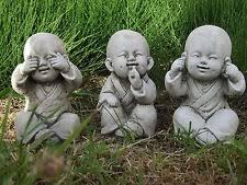 buddha monk set speak see hear no evil garden ornament statue koi