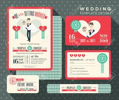 Groom To Bride Wedding Card Groom Carrying Bride Cartoon Retro Wedding Invitation Set Design