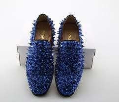 svonces runway fashion top quality red sole men shoes blue sequin