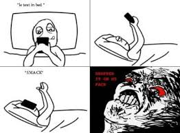 Meme Face Text - image 133088 text in bed drop phone on face know your meme